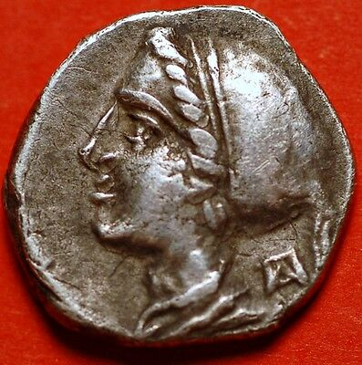 Ancient Corinth Silver Drachm 350-306 BCE .Head of Aphrodite and Pegasus flying