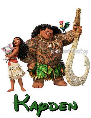 Moana Maui Pua New Custom Personalized t shirt Birthday party Add Name & size