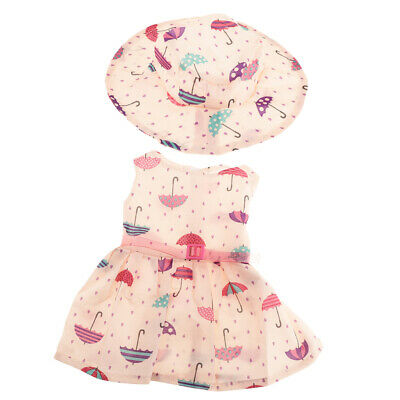 Lovely Sleeveless Dress Outfit w/Hat for 18'' American Girl Dolls Dress Up