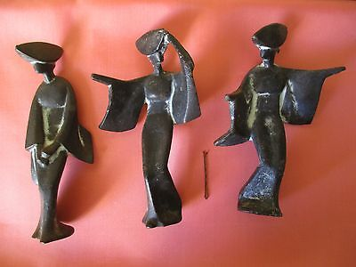 Bronze Set of Three (3) Old Vintage Collectable Japanese Lady Statues Figures