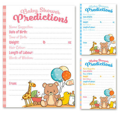 Baby Shower Prediction Game Cards - High Quality - Boy Girl Unisex