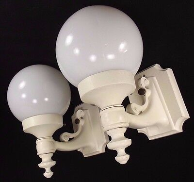 2 antique vintage CAST IRON exterior wall sconce light globes MADE IN ITALY co