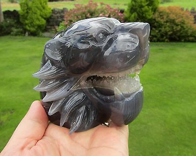 Natural Agate & Clear Quartz Tigers Head Skull Stunning 950g + Wood Stand Inc