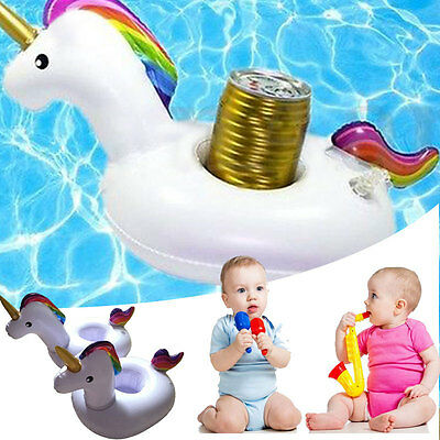 2x Unicorn Swimming Inflatable Floating Boat Drink Can Cup Holder Bath Beach Toy