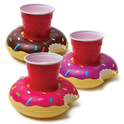 1 - 3pcs Donut Inflatable Swimming Floating Drink Can Cup Holder Pool Party Bath