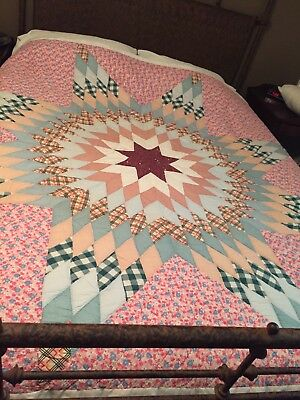 Stunning Hand Quilted Lone Star Quilt Pink Blue Tan Home Decor Antique Bedding