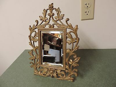 Antique Victorian Cast iron gold Mirror Picture Frame  4 x 6  Easel Style