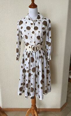 "ALGO 1950s Brown White PolkaDot Shirt Waist Dress w Belt 34"" Bust Rockabilly"