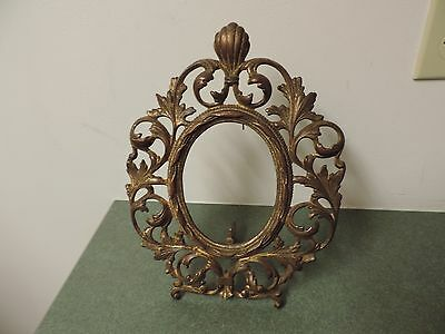 Antique Victorian Cast iron Oval  gold  Picture Frame  4 x 5  Easel Style