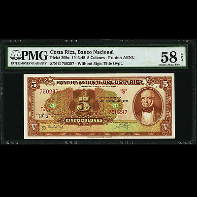 Costa Rica 5 Colones 1948 Banco Nacional PMG 58 Choice About UNC EPQ P-209a