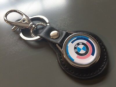 BMW 'Motorsport' Keychain Real Leather Keyring Fob Key High Quality, UK Stock