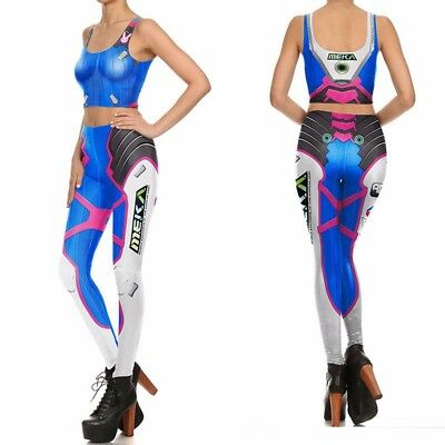 OW Overwatch DVA Cosplay Costume 3D Slim Leggings Lycra Tight Body Suit Jumpsuit