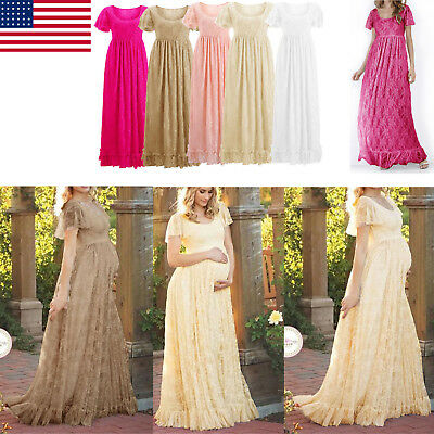 Maxi Pregnant Women Lace Dress Maternity Photography Party Daily Fancy Gown US