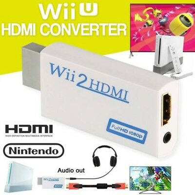 Wii To HDMI Converter Adapter Full HD 1080P Video HDMI 3.5mm AV Multi Out Plugx1