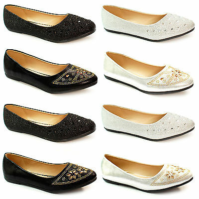 73e8c14e1d8 New Womens Ballerina Ballet Dolly Pumps Flat Black Loafers Shoes Size Girls  size