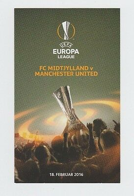 Orig.PRG  Europa League  2015/16   FC MIDTJYLLAND - MANCHESTER UNITED / A ! RARE