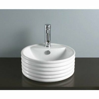 KNGB-EV5212-Kingston Brass Tower White China Vessel Bathroom Sink with Overflow