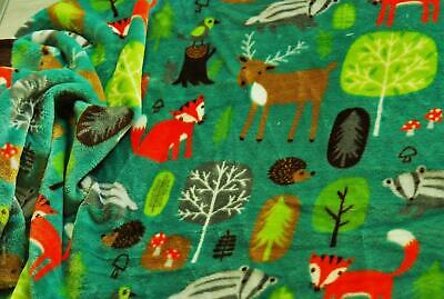 Double Sided Supersoft Cuddlesoft Fleece Fabric Material WOODLAND ANIMALS GREEN
