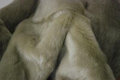 LUXURY Faux Fur Fabric Material - STONE BEIGE