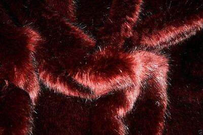 Super Luxury Faux Fur Fabric Material - SWISS WINE RED BLACK