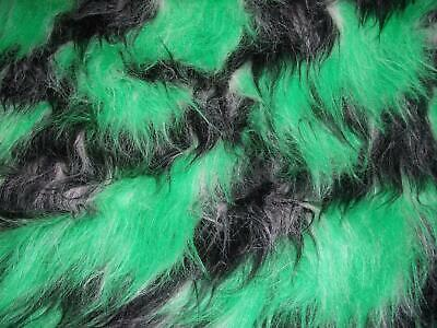 LONG Pile Fun Faux Fur Fabric Material BLACK/EMERALD/TOFFEE MIX