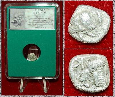 Ancient Greek Coin Mysia Kyzikos Roaring Lion and Running Boar Silver Hemiobol