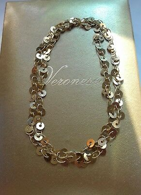 Qvc Sterling Silver Veronese Sequin Disc 23 Inch Necklace.