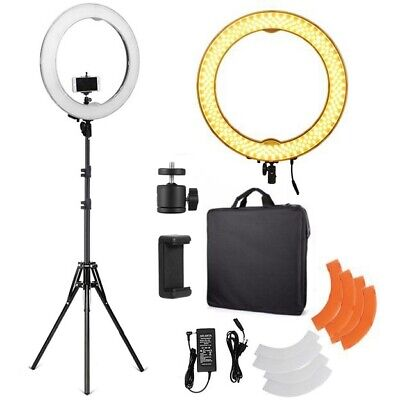 """18"""" 5500K Dimmable Diva LED Ring Light With Diffuser Adjustable Light Stand Kit"""