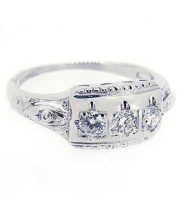 Antique Vintage Three Stone Diamond Ring in 18KT White Gold 0.40ctw