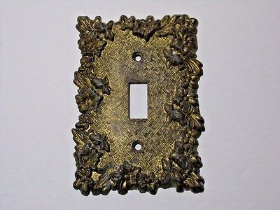 SWITCH PLATE Vintage mid century brass tone pewter metal Edmar