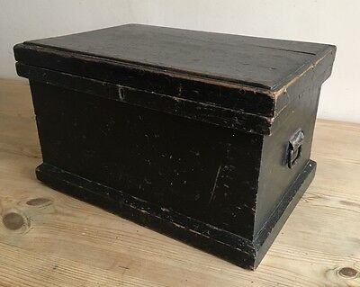 Antique Painted Pine Rent Box / Chest, Bankers Box With Inner Tray And Key