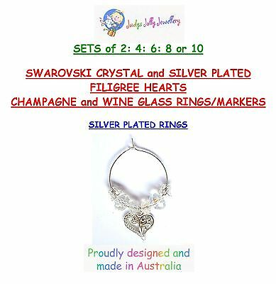 Champagne & Wine Glass Charms A Silver Filigree Heart With Swarovski Crystals
