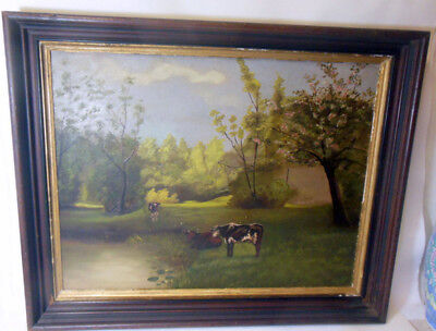 Antique COW Oil Painting Landscape Farm Folk Art Framed