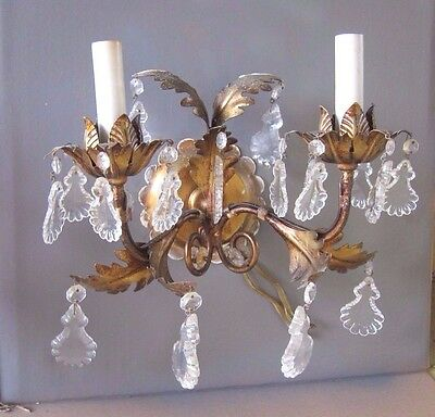 Pair of Vintage Golden Leafy Brass Sconces with crystals - Made in Italy
