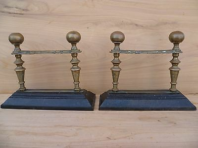 Antique Old Brass & Steel Fire Dogs, Old Metal-Ware (F194)