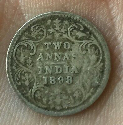 1898 British India Two Annas Silver Coin Nice Detail Scarce