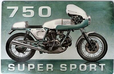 Ducati 750 Super Sport 446X300. All Weather Sign, Tin Sign Aged Look All Weather