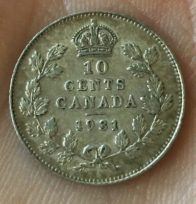 1931 10 Canadian Canada Cents .800 Silver Coin Nice Detail Scarce