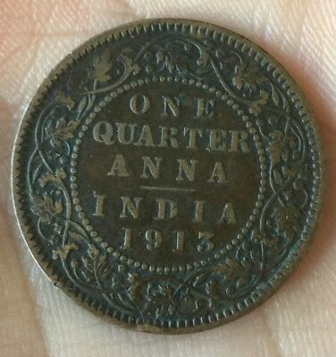 1913 British India One Quarter Anna Coin Nice Detail Scarce