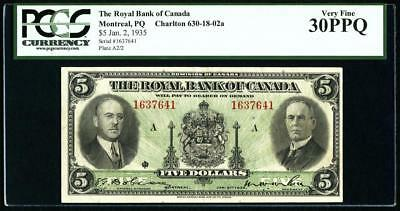 Montreal, PQ- Royal Bank of Canada $5 Jan. 2, 1935 Ch. # 630-18-02a. PCGS VF30