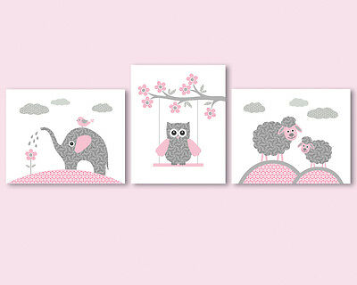 3 prints / posters for baby girl nursery - elephant, owl, sheep, pink and grey
