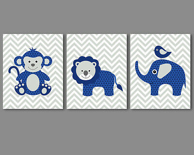 Baby boy nursery art - safari animals monkey, lion, elephant - navy, grey prints