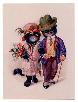 modern cat postcard dressed black cats couple stroll arm in arm CAT CHARITY