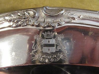 1880 french sterling silver oval platter rococo Marquis coat of arms Bellescize