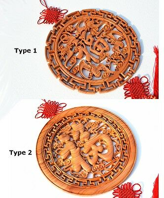Peach Wood FU Chinese Lucy Decoration Blessing Wedding Gift Exorcise Evil Art