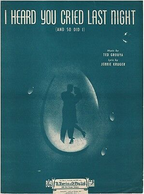 I Heard You Cried Last Night (And So Did I) Sheet Music Book Piano Vocal Guitar