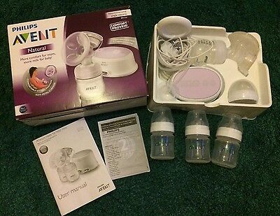 Phillips Avent Natural Electric Breast Pump + 3 Extra Bottles