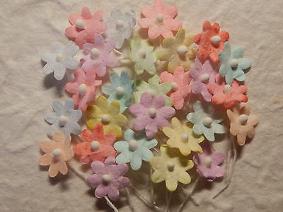 100 Mulberry Paper 13mm FLOWERS  MPFF37A Pastel colours: scrapbooking cardmaking