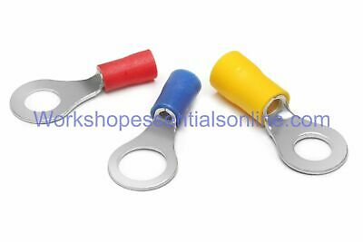 Ring Crimp Terminals Red 0.5-1.5mm², Blue1.5-2.5mm², Yellow4-6mm² Hole 3.2-13mm