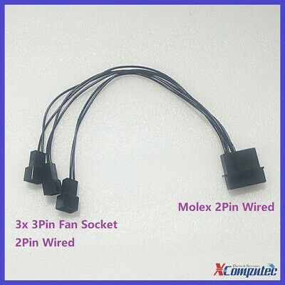 4Pin Molex LP4 Power to Four 4x 3Pin Case Cooling Fan Converter Adapter 12V 20cm